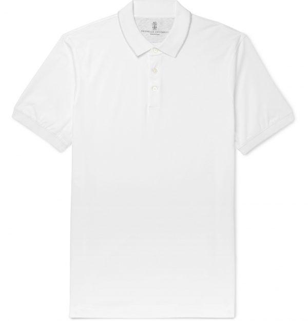 Brunello Cucinelli - Slim-Fit Contrast-Tipped Cotton-Piqué Polo Shirt - Men - White