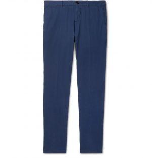 Brunello Cucinelli - Slim-Fit Cotton-Blend Twill Trousers - Men - Blue