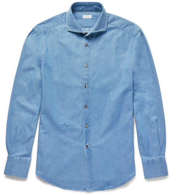 Brunello Cucinelli - Slim-Fit Cutaway-Collar Washed-Denim Shirt - Men - Blue