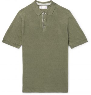 Brunello Cucinelli - Slim-Fit Knitted Linen and Cotton-Blend Polo Shirt - Men - Green