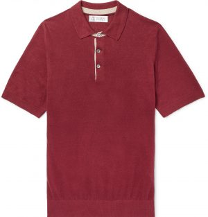 Brunello Cucinelli - Slim-Fit Knitted Mélange Linen and Cotton-Blend Polo Shirt - Men - Burgundy