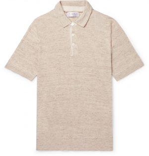 Brunello Cucinelli - Slim-Fit Knitted Mélange Linen and Cotton-Blend Polo Shirt - Men - Neutrals