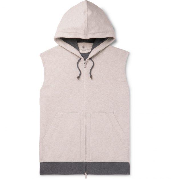 Brunello Cucinelli - Slim-Fit Mélange Cotton-Blend Jersey Hooded Gilet - Men - Gray