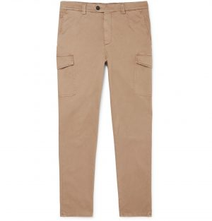 Brunello Cucinelli - Slim-Fit Stretch-Cotton Twill Cargo Trousers - Men - Neutrals