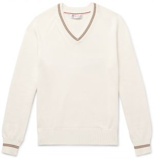 Brunello Cucinelli - Stripe-Trimmed Cotton Sweater - Men - White