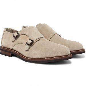 Brunello Cucinelli - Suede Monk-Strap Shoes - Men - Neutrals