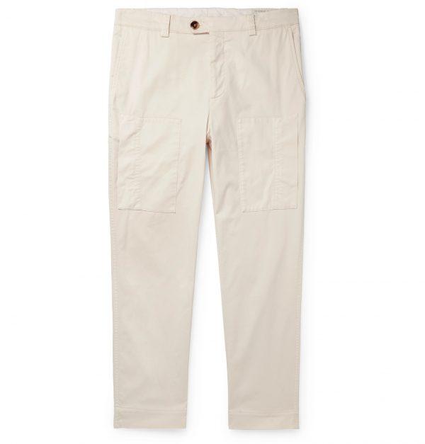 Brunello Cucinelli - Tapered Cotton-Blend Trousers - Men - Neutrals