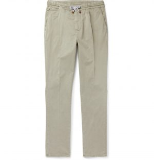Brunello Cucinelli - Tapered Stretch-Cotton Twill Drawstring Trousers - Men - Green