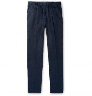 Brunello Cucinelli - Taupe Tapered Pleated Linen and Cotton-Blend Twill Trousers - Men - Blue