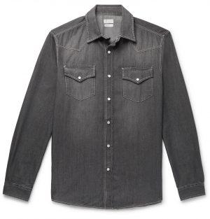 Brunello Cucinelli - Washed-Denim Western Shirt - Men - Gray