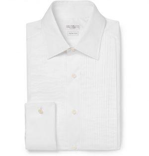 Brunello Cucinelli - White Slim-Fit Pleated Bib-Front Double-Cuff Cotton Tuxedo Shirt - Men - White