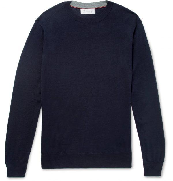 Brunello Cucinelli - Wool and Cashmere-Blend Sweater - Men - Blue