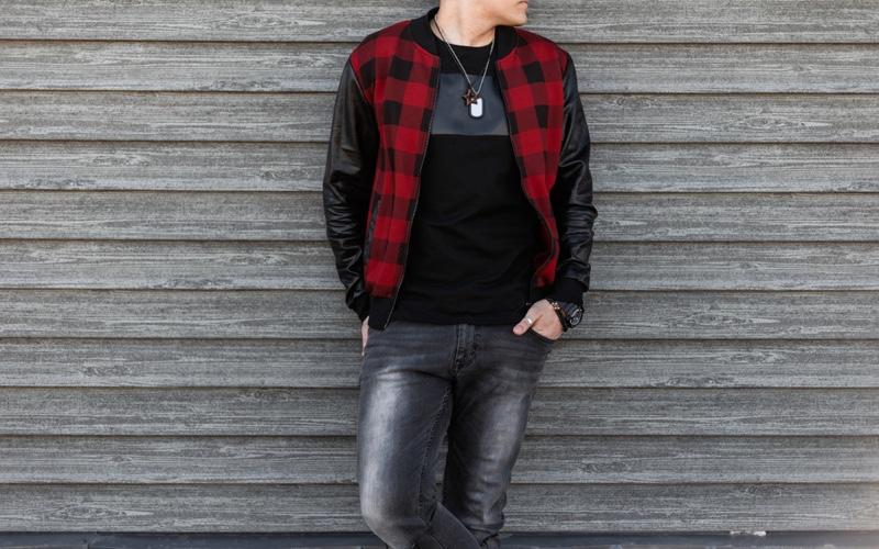 Buffalo Check Leather Jacket Male Model