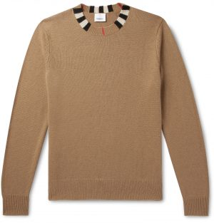 Burberry - Check-Trimmed Cashmere Sweater - Men - Brown