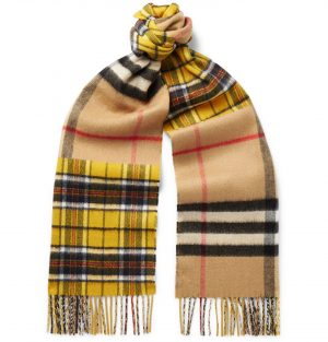 Burberry - Fringed Checked Cashmere and Merino Wool-Blend Scarf - Men - Yellow