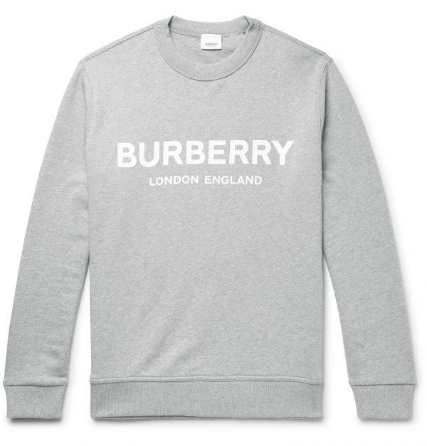 Burberry - Logo-Print Mélange Loopback Cotton-Jersey Sweatshirt - Men - Gray