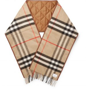 Burberry - Reversible Leather-Trimmed Quilted Fringed Checked Cashmere Scarf - Men - Brown