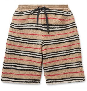 Burberry - Shell-Trimmed Striped Fleece Drawstring Shorts - Men - Brown