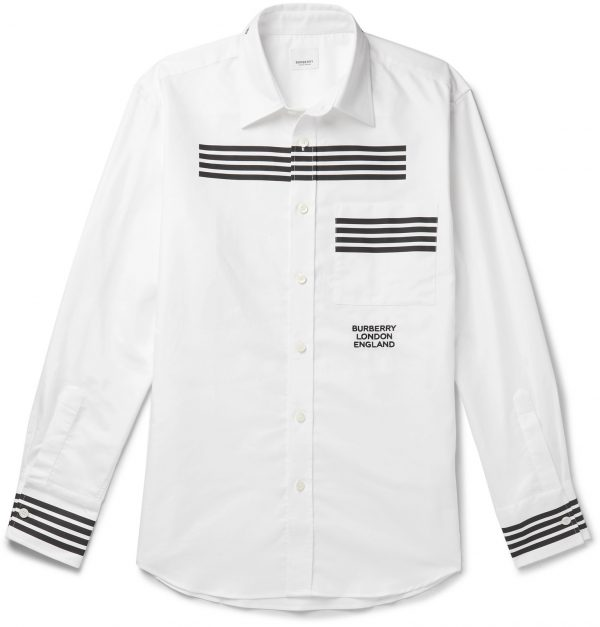 Burberry - Slim-Fit Striped Logo-Embroidered Cotton Oxford Shirt - Men - White