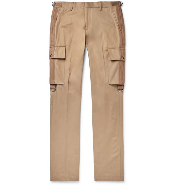 Burberry - Slim-Fit Webbing-Trimmed Cotton-Twill Cargo Trousers - Men - Brown