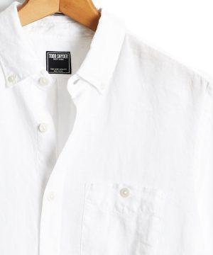 Button Down Linen Shirt in White