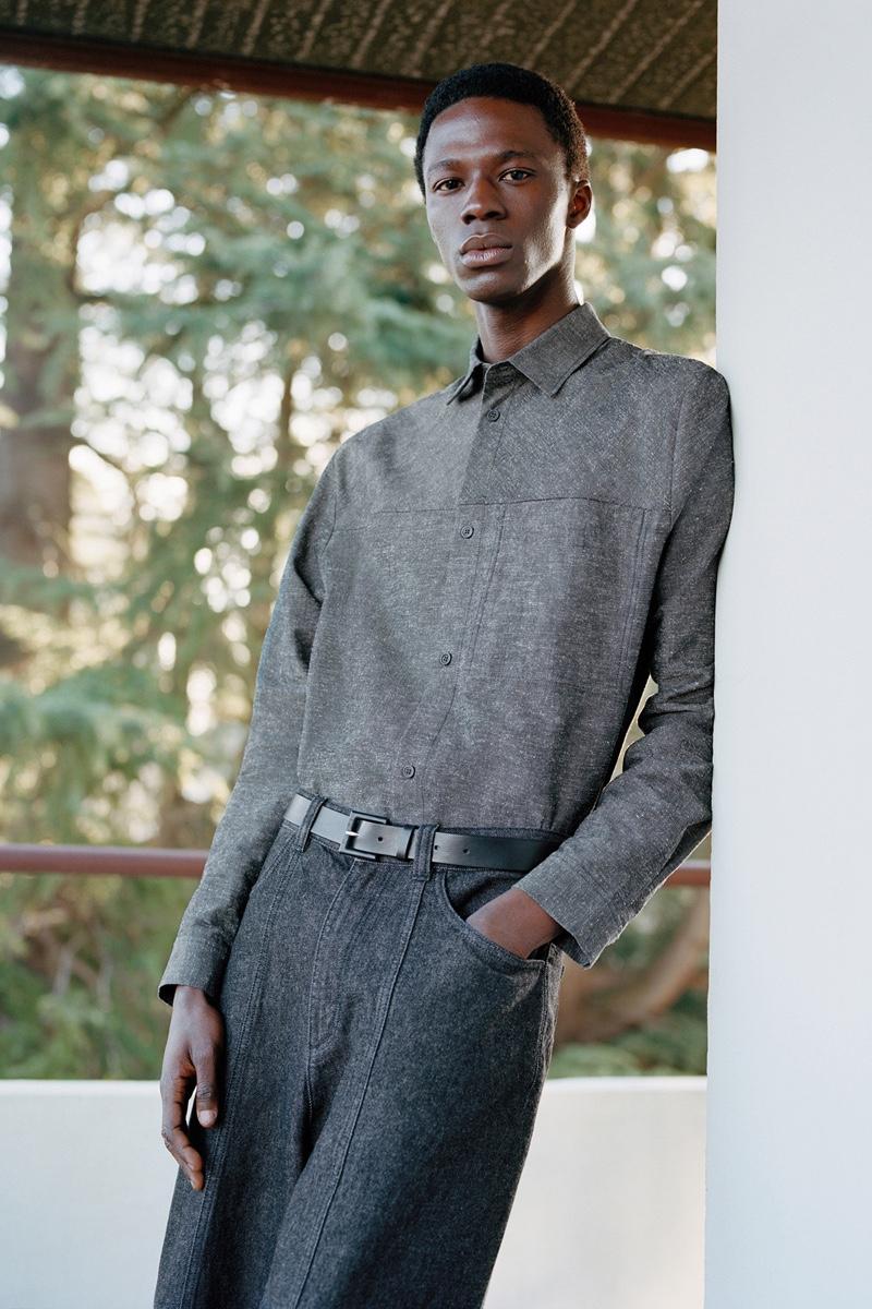 Front and center, Cherif Douamba mixes shades of gray.
