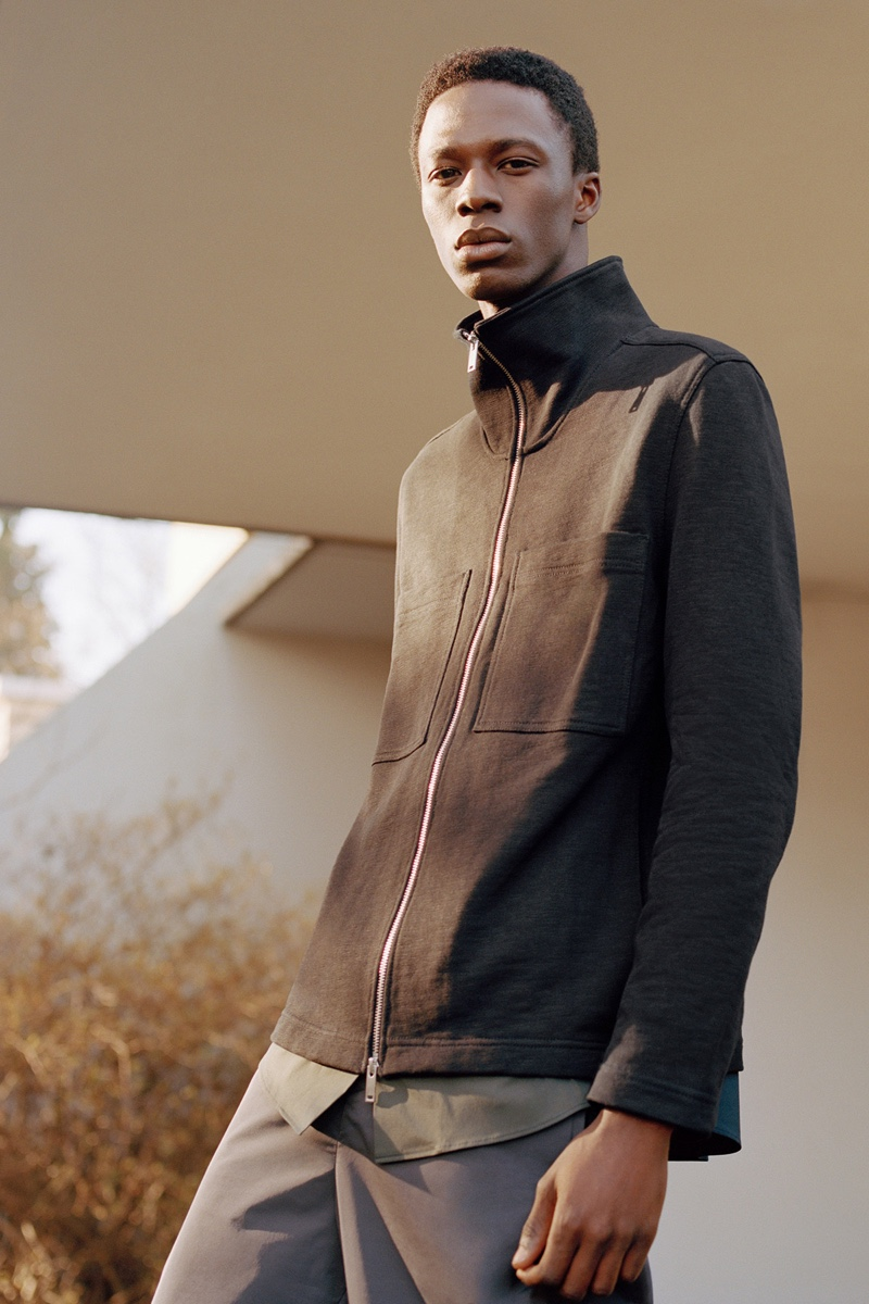 Model Cherif Douamba showcases spring-summer 2020 styles from COS.