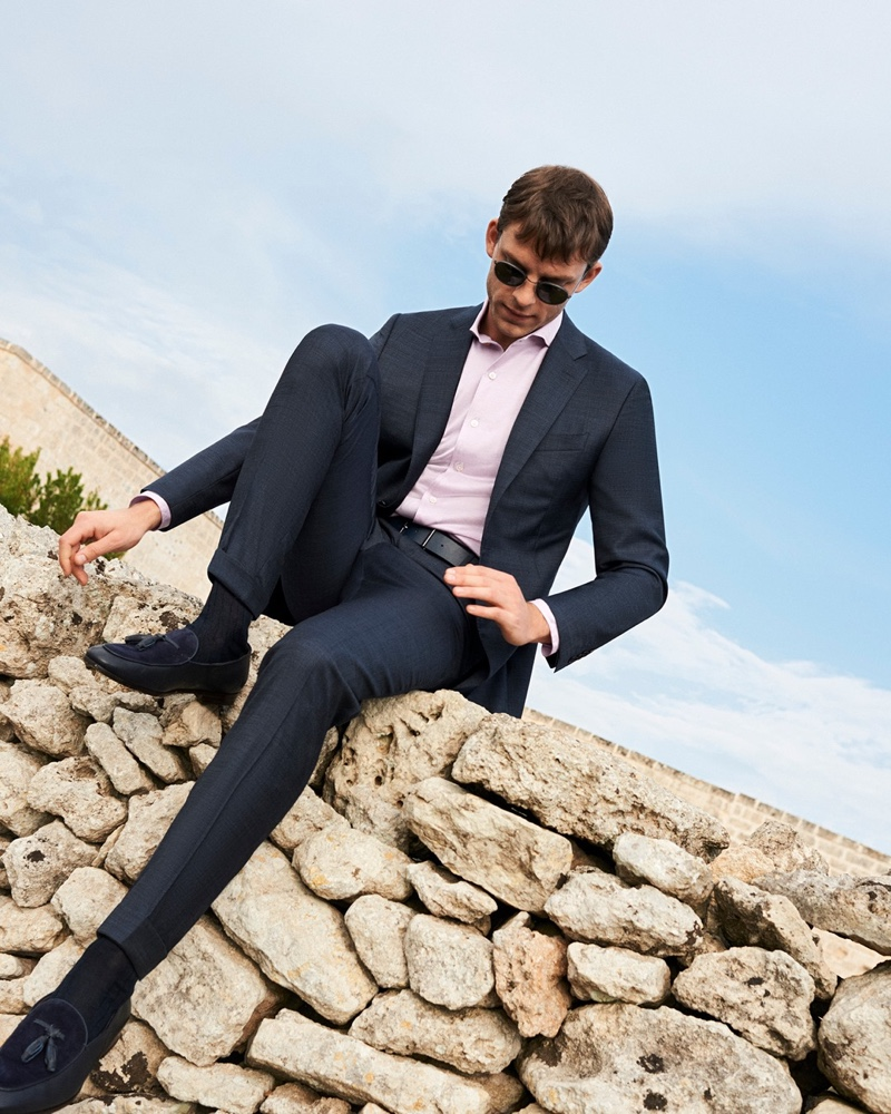 Daniel Schroder suits up for Canali's spring-summer 2020 campaign.