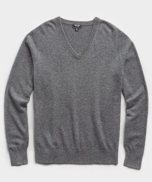 Cashmere V-neck Sweater in Grey