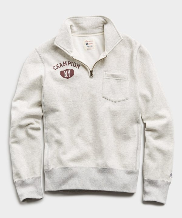 Champion New York Zip Polo in Eggshell Mix