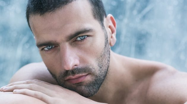 Closeup Attractive Male Model Beard Grooming
