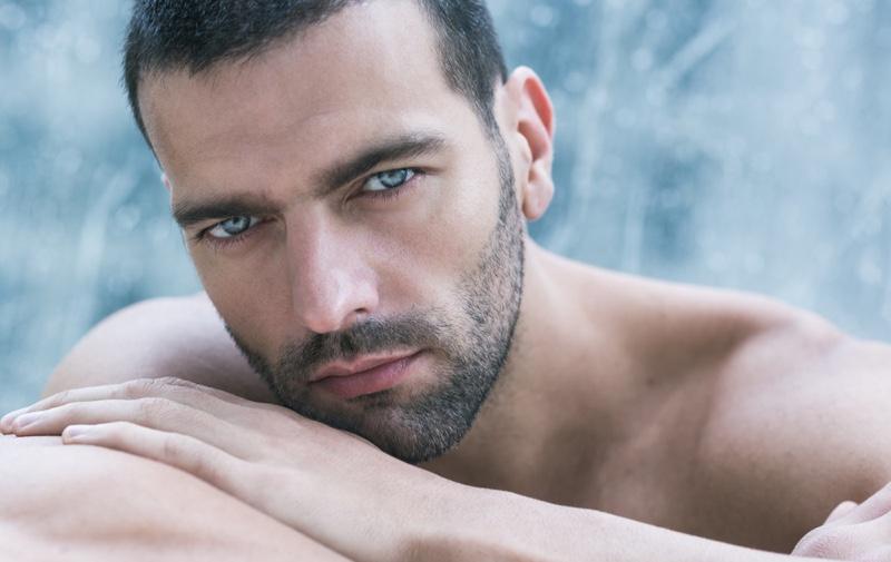 Closeup Attractive Male Model Beard Grooming