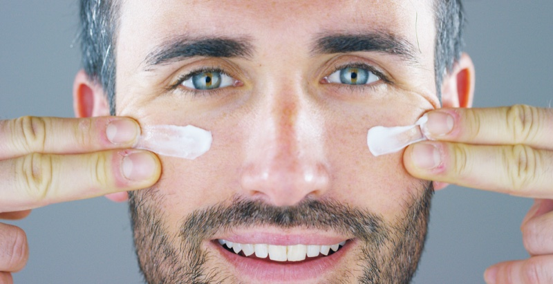Closeup Male Model Face Cream