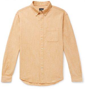 Club Monaco - Button-Down Collar Textured Cotton and Linen-Blend Shirt - Men - Yellow