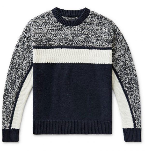 Club Monaco - Colour-Block Mélange Cotton-Blend Sweater - Men - Blue