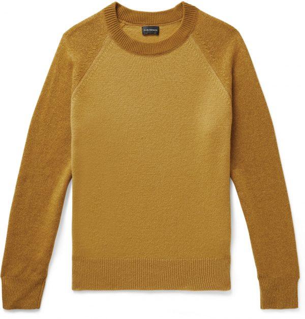 Club Monaco - Garment-Dyed Colour-Block Wool Sweater - Men - Yellow