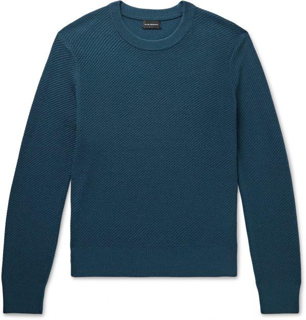 Club Monaco - Ribbed Wool-Blend Sweater - Men - Blue