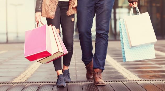 Couple Walking Shopping Bags City