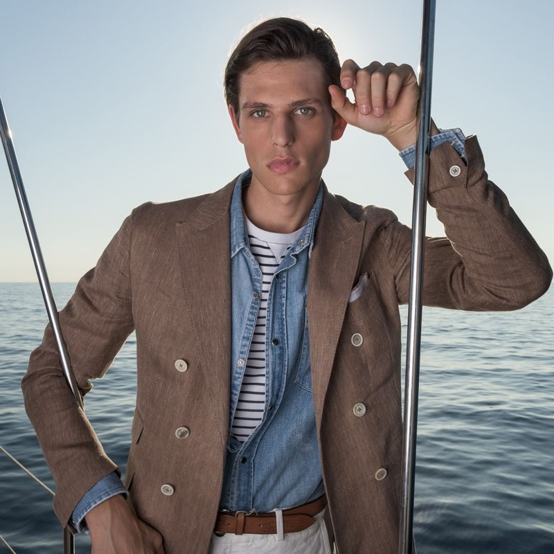 Pau Ramis dons smart style for Eleventy's spring-summer 2020 campaign.