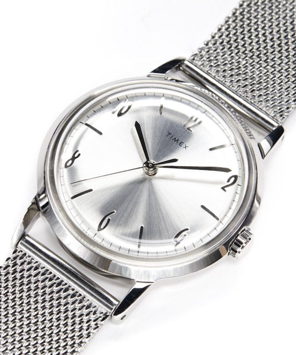 Exclusive Timex Marlin Mesh Band Watch in Silver 34mm