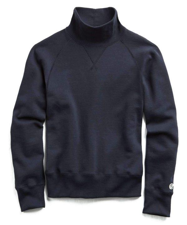 Fleece Turtleneck Sweatshirt in Navy