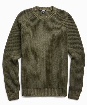 Garment Dyed Cashmere Raglan Rib Crew in Olive