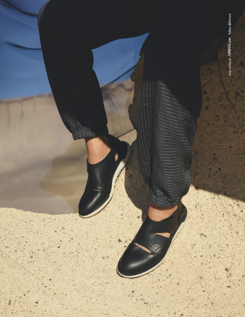 Italian fashion house Giorgio Armani puts the spotlight on its footwear for a part of its spring-summer 2020 campaign.