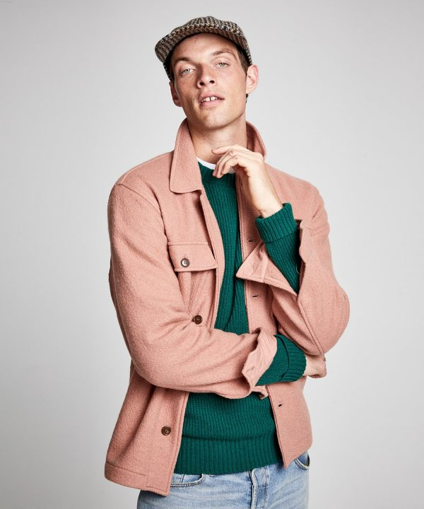 Italian Boucle Knit Shirt Jacket in Mauve