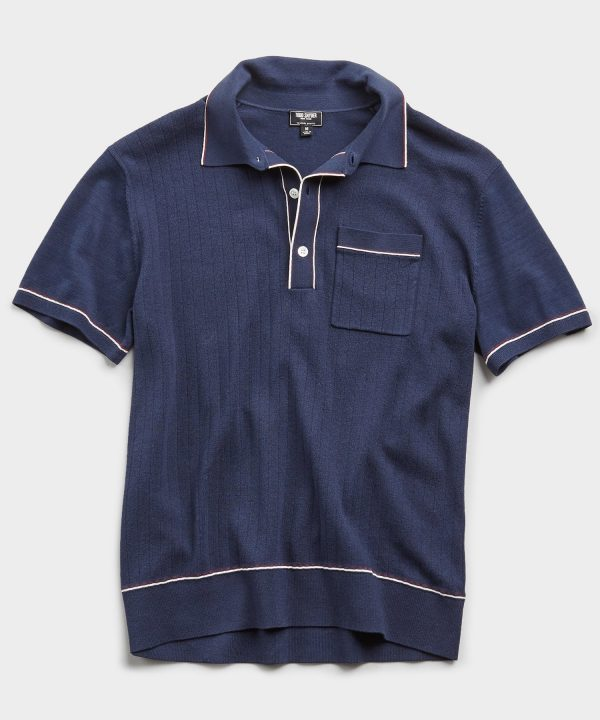 Italian Cotton Silk Tipped Ribbed Polo Sweater in Navy