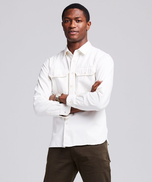 Italian Two Pocket Utility Long Sleeve Shirt in Ivory