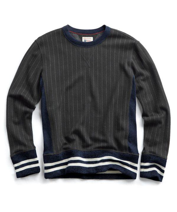 Italian Wool Chalk Stripe Wool Crew Sweatshirt