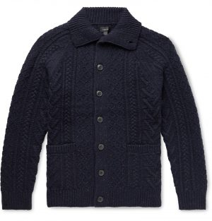 J.Crew - Cable-Knit Donegal Merino Wool-Blend Cardigan - Men - Blue
