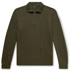 J.Crew - Everyday Mélange Cashmere Half-Zip Sweater - Men - Green