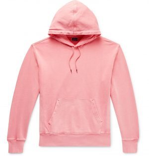 J.Crew - Garment-Dyed Loopback Cotton-Jersey Hoodie - Men - Pink